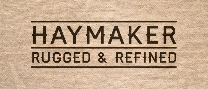 Haymaker: A display typeface that's both rugged and refined. Inspired by the workmanship, lettering, and baseball jerseys of the 1930's and 40's.